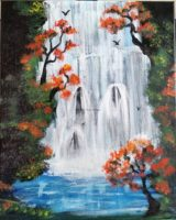 Painting of Autumn Waterfall