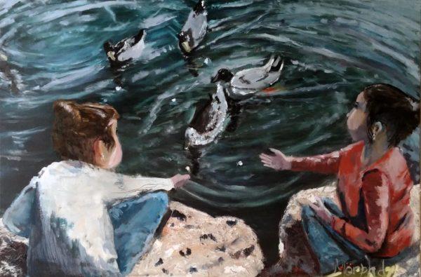 Girls Feeding Ducks